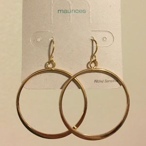 Gold Circle Hoop Earrings, NWT, Maurices